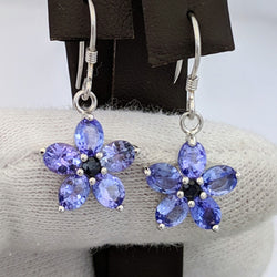 Tanzanite Flower Earring Silver