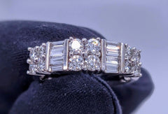 Baguette & Round Diamond Ring 14kt White Gold