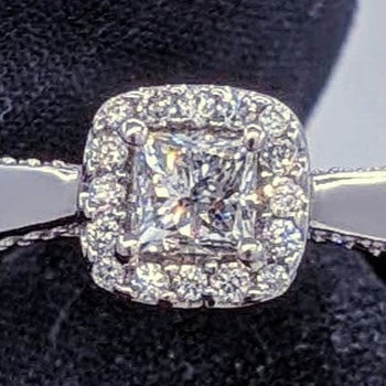 Vintage Princess Cut Diamond Ring 14kt White Gold