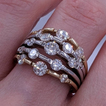 Multi-Stone Diamond Ring 14kt Yellow & White Gold