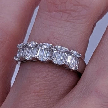 Baguette & Marquise Cut Diamond Ring 18kt White Gold
