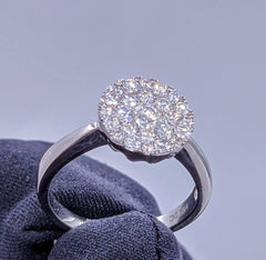 Round Diamond Cluster Ring 14kt White Gold
