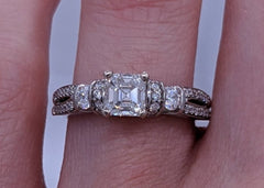 Ascher Cut Diamond Ring Platinum