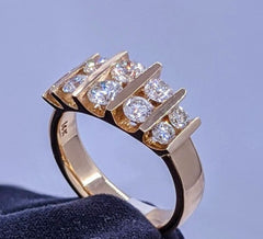 Diamond Ring Channel Bar Set 14kt Yellow Gold