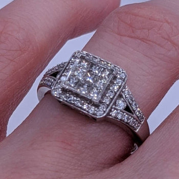 Round & Princess Cut Diamond Ring 14kt White Gold