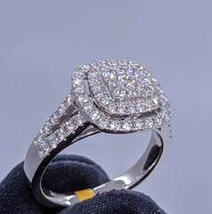Diamond Cluster Ring 14kt White Gold