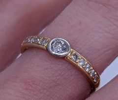 Vintage Bezel Set Diamond Ring 14kt Gold