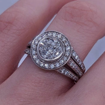 Marquise & Round Diamond Ring 14kt White Gold