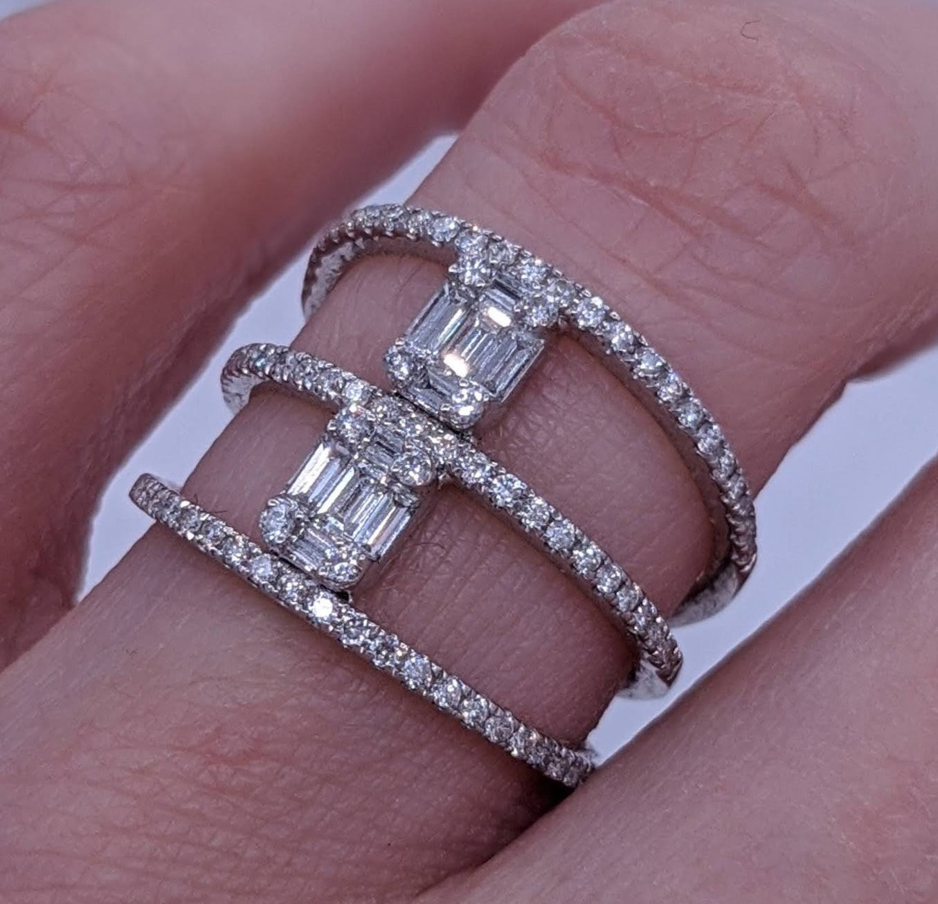Triple Row Baguette Cut Diamond Ring 18kt White Gold