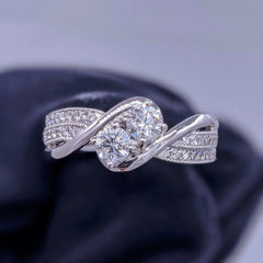 Twin Round Diamond Ring 14kt White Gold