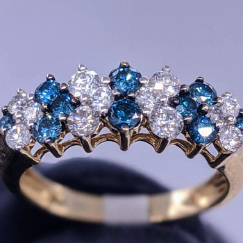Glacier Blue & White Diamond Ring 14kt Yellow Gold