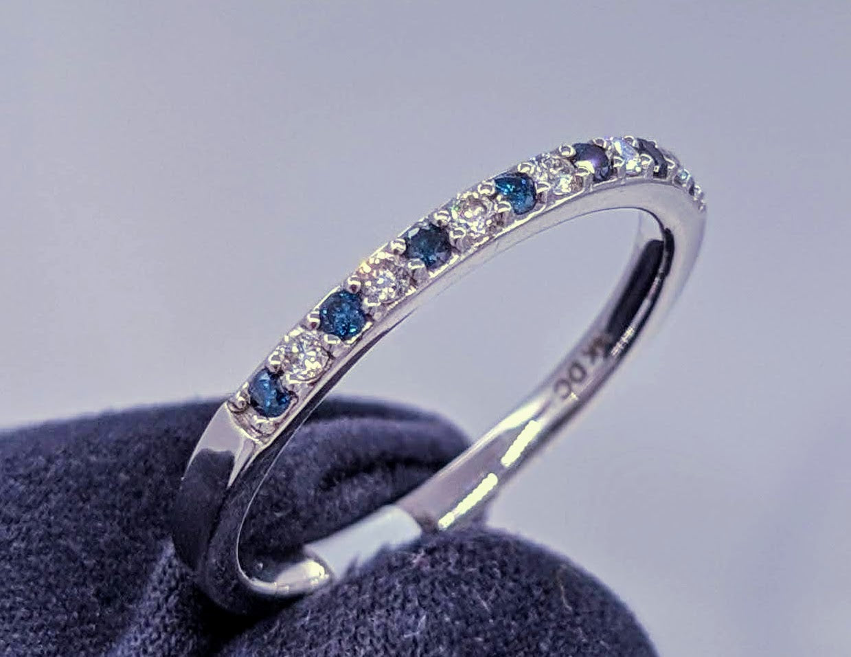 Glacier Blue & White Diamond Band 14kt White Gold
