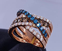 Glacier Blue & Fancy Brown Diamond Cocktail Ring