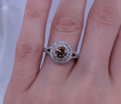 Fancy Brown Diamond Solitaire Ring 14kt White Gold