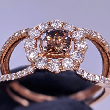 Fancy Brown Diamond Solitaire Ring 14kt Rose Gold