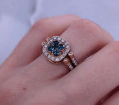 Large Reversible Glacier Blue & Fancy Brown Diamond Ring