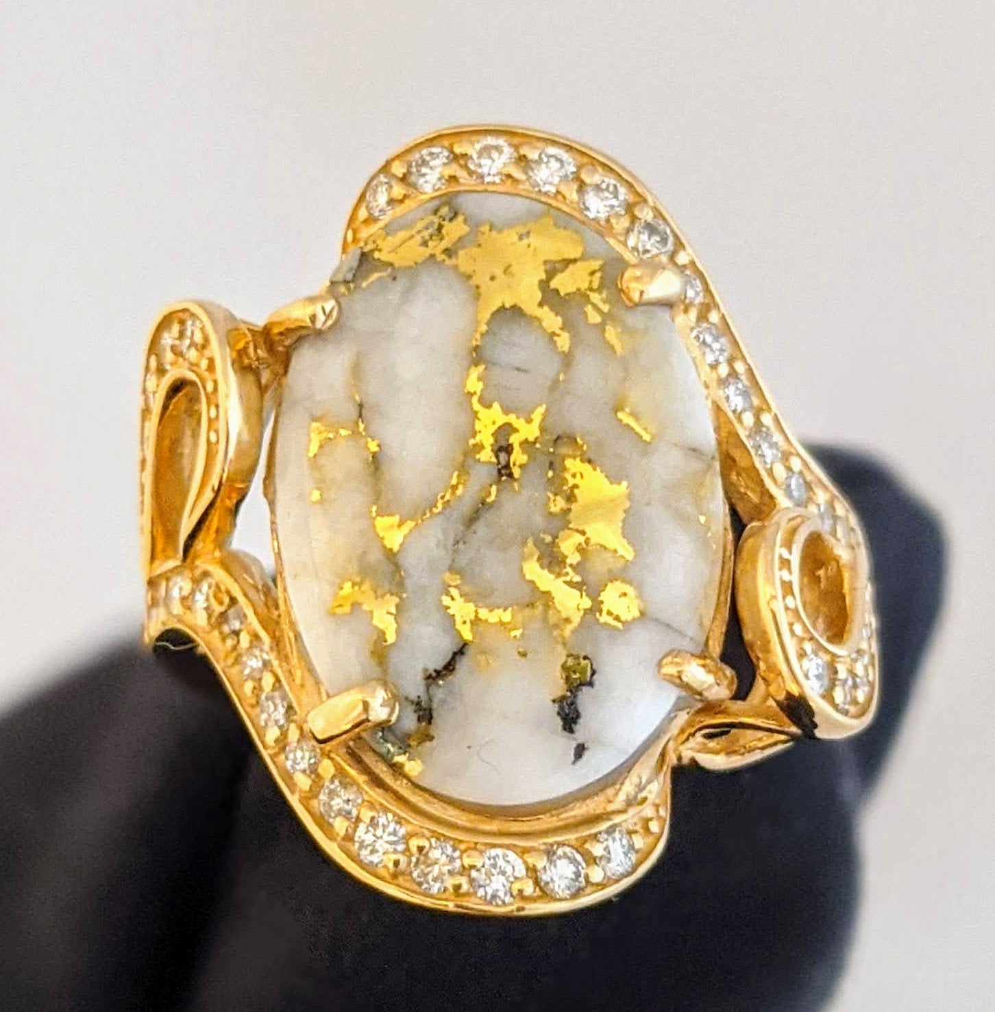 Large Natural Gold Quartz & Diamond Ring