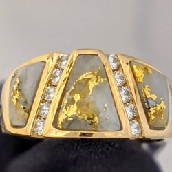 Natural Gold Quartz & Diamond Ring