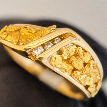 Natural Gold Nugget Diamond Ring