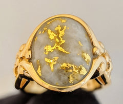 Large Natural Gold Quartz Ring