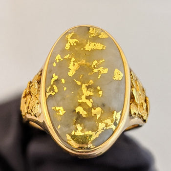 Large Natural Gold Quartz & Gold Nugget Ring