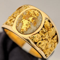 Large Natural Gold Quartz & Gold Nugget Men's Ring