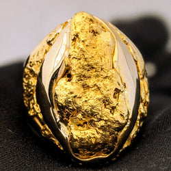 Large Natural Gold Nugget Men's Ring