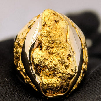 Huge Natural Gold Nugget Men's Ring