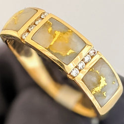 Natural Gold Nugget & Diamond Men's Ring