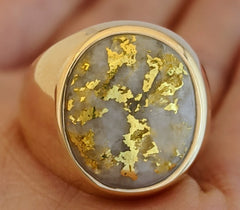 Large Natural Gold Quartz Men's Ring
