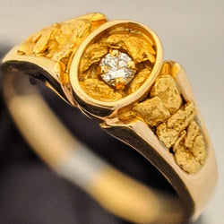 Natural Gold Nugget Diamond Men's Ring