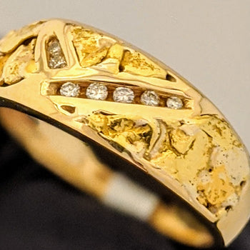 Natural Gold Nugget & Diamond Ring