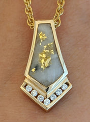 Natural Gold Quartz & Diamond Pendant