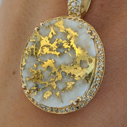 Large Natural Gold Quartz & Diamond Pendant