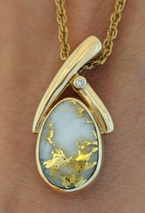 Reversible Natural Gold Quartz & Pink Mother of Pearl Pendant