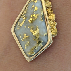 Natural Gold Quartz & Gold Nugget Pendant