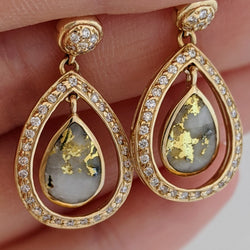 Tear Drop Natural Gold Quartz & Diamond Earrings