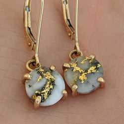 Round Natural Gold Quartz Dangle Earrings