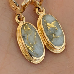 Oval Natural Gold Quartz Dangle Earrings