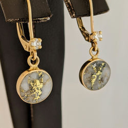 Natural Gold Quartz & Diamond Dangle Earrings