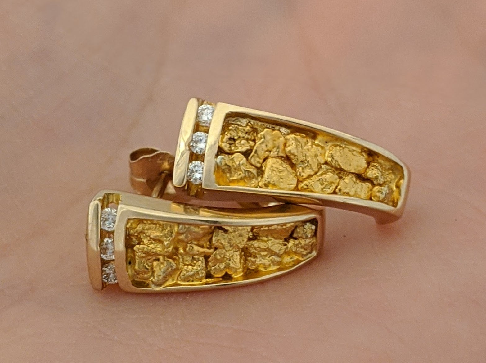 Natural Gold Nugget & Diamond Earrings
