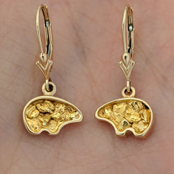 Natural Gold Nugget Bear Earrings