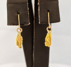 Natural Gold Nugget Dangle Earrings