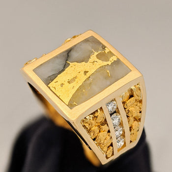 Large Natural Gold Quartz & Gold Nugget Men's Diamond Ring