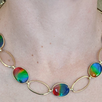 Ammolite Necklace 14kt Gold
