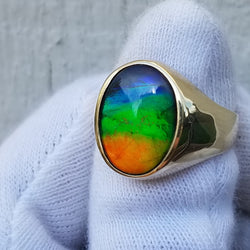 Men's Ammolite Ring 14kt Gold
