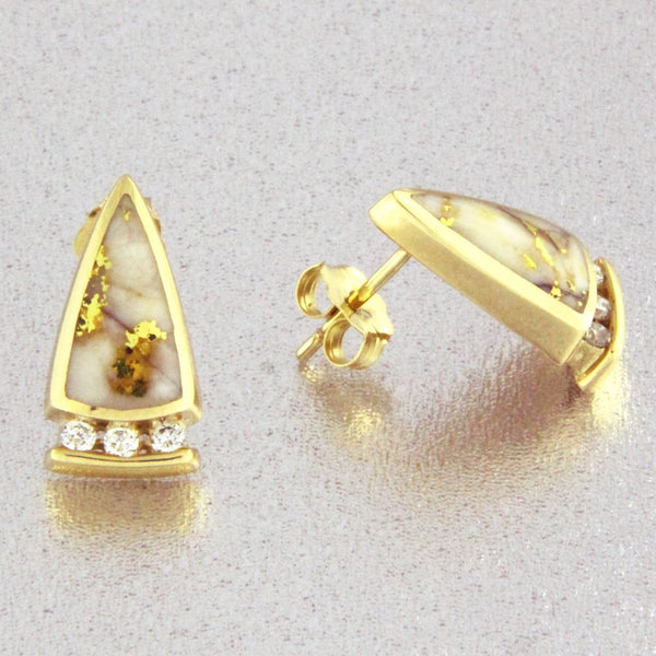 Natural Gold Quartz & Diamond Earrings