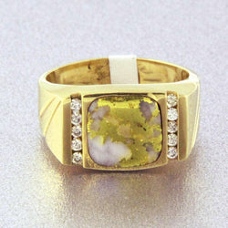 Natural Gold Quartz & Diamond Men's Ring