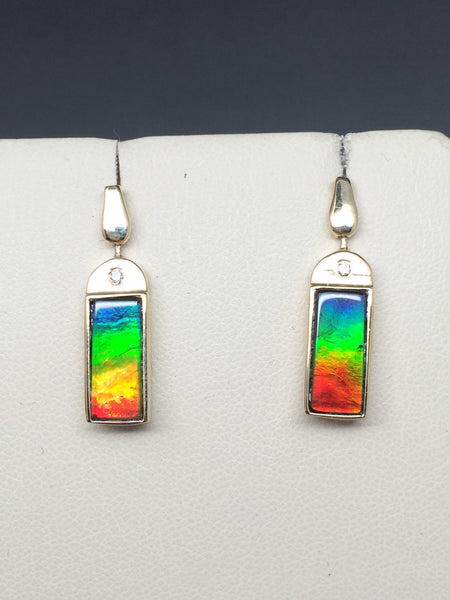 Reversible Ammolite & Natural Gold Quartz Earrings