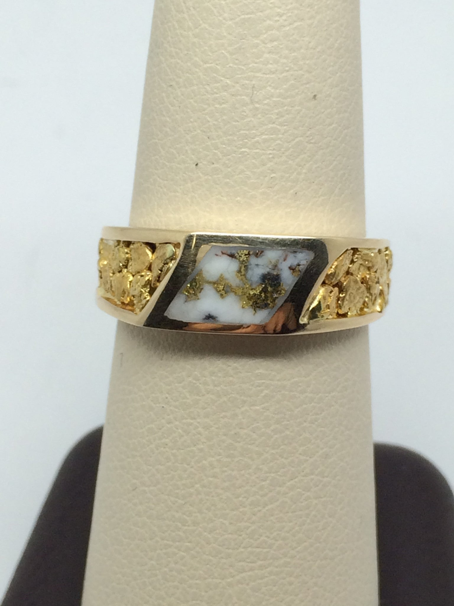 Natural Gold Quartz & Alaskan Klondike Gold Nugget Ring